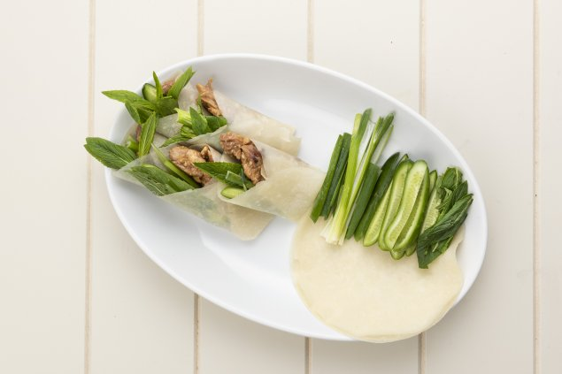 Asian pulled chicken wraps with spring onion, cucumber & hoisin sauce